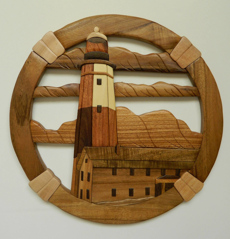 A Splendid Tribute To The Montauk Point Lighthouse On Long Island New York In Intarsia Wood Art Sixteen Inch Diameter Wood Wall Art